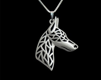 Doberman profile jewelry - sterling silver pendant and necklace