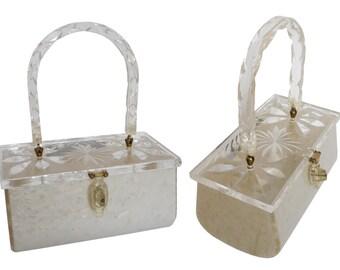 1950s Vintage Marblelized Lucite Handbag Clear Transparent Carved Lid Purse