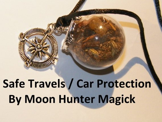 Safe Travels Witch Ball Car Protection Rear View Mirror Charm Witch Bottle Pagan Wicca Talisman