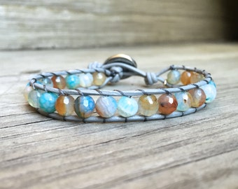 ON SALE! Beaded Leather Single Wrap Stackable Bracelet with Colorful Blue Turquoise and Brown Agate Beads on Genuine Gray Leather