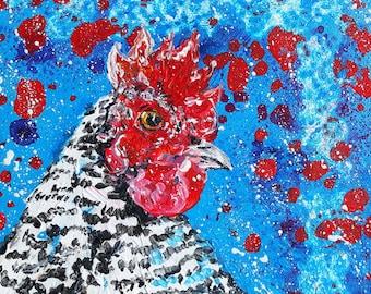 "Original painting of hen,chicken  ""Dottie"""