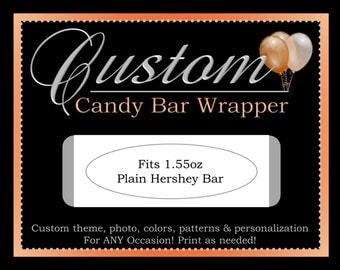 Custom Candy Bar Wrapper, Printable Party Decorations, ALL Coordinating Custom Designs Can Be Ordered From This Listing