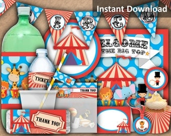 Circus Party Package, Carnival Circus Party Decorations, Carnival Birthday Party Pack, Printable Party Package, Instant Download