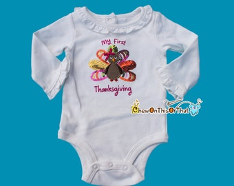 Baby Girl First Thanksgiving Sequenced Turkey Onesie with Ruffled Collar and Sleeves, Bodysuit, Top, Shirt