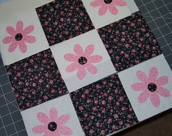 Set of 9 Pink Flower Applique and Coordinating Quilt Blocks