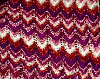 Handmade knit throw afghan lap blanket Ooak unique womens designer rippled crochet chair cover bed spread hippie pink purple cream autumn