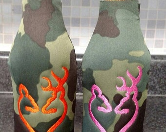 Set of 2 Personalized Camo Mr Mrs Doe Buck Deer Hunter Bottle Can Coolers Holders Wedding Engagement Anniversary Gift *Add Name or Date*