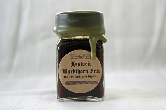 Olive Green Buckthorn Berry Historic Calligraphy and Drawing Ink, 1 oz