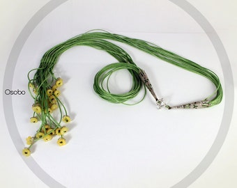 Macrame / Waxed cord necklace / Polymer clay flower beads / Green and Yellow necklace