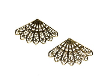 2 Filigree Fan, Triangle, Antique Gold, Gold Stampings