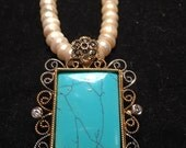 turquoise rectangle necklace with pearls, semi precious, flower, zircon