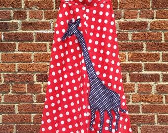 Funky Vtg Polka Dot Giraffe Maxi Skirt S M