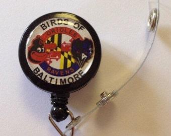 Birds of Baltimore Ravens Orioles Themed  ID Badge Reel