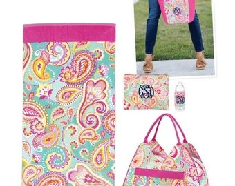 ON SALE Summer Paisley Collection/ Many items to choose from/ Cooler, Coozie, Accessory Bag and More/ Beach Trip Luggage/ Beach bag set/ Bri