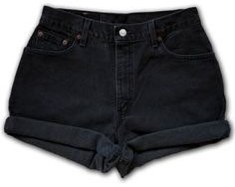 Black high waisted shorts/grunge shorts/cuffed/rolled/levis wrangler rustler lee/hipster/plussize/vintage