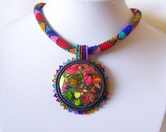 Bead Embroidery Necklace Pendant Beadwork with Rainbow Sea Jasper and Pyrite - SUMMER FUN - Summer collection - Geometric