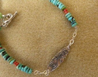 Earthy Necklace of Turquoise, Coral and Silver