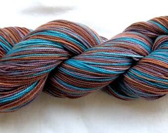 Superwash Merino/Nylon Sock Yarn 400 yds. Hand Painted Brown Turquoise, Cocoa
