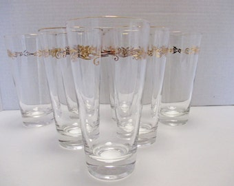 Tumbler Glasses 10 Ounce - Lifetime China Homer Laughlin Gold Crown Pattern - Set of 4 (2 sets available)