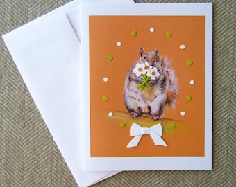 Cute squirrel card with flowers/ squirrel anniversary card/ squirrel mother's day card/ blank card/ kitsch animal card/ unique greeting card