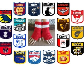 AFL Fingerless Football Gloves, Swans Crochet Wool Wrist Warmers in Red And White, Australia, AFL Sydney Swans