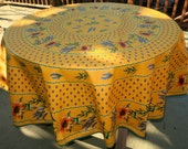 Round cotton coated tablecloth olives and lavender