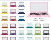 Computer Laptop Icon Digital Clipart in Rainbow Colors - Instant download PNG files