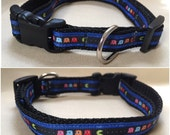 "Handmade Pacman 5/8"" Adjustable Dog Collar - SMALL"