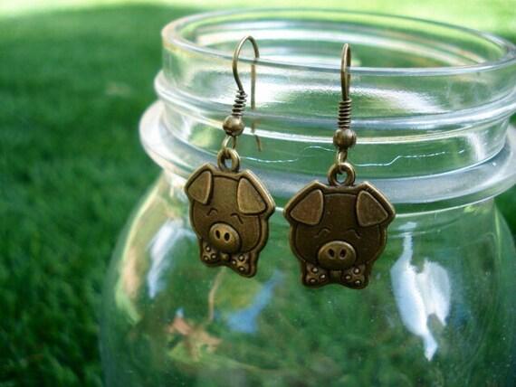 Pig Earrings, Animal Jewelry, Pig, Pig Collectibles, Animal Earrings, Nature Earrings, Dangle Drop Earrings, Teen Gift, Women's Earrings
