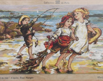 "SUMMER SALE Huge Gobelin 102 cm x 52 cm, Hand Embroidered Tapestry Gobelin ""Les Enfants Du Bord De Mer"", Needlepoint, French Wall Hanging"