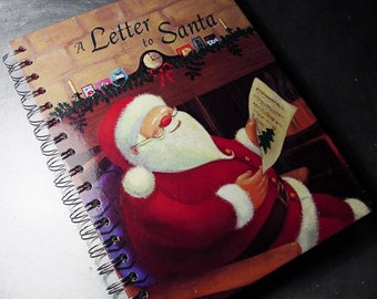 a LETTER to SANTA  JOURNAL Book Recycled Upcycled Altered