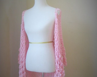 Light Pink Long Bohemian Vest Crochet Maxi Vest Cardigan Poncho Hippie Boho Gypsy Vest Handmade Gift for Her Easter Time