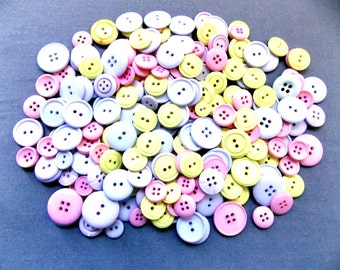 Lot  (203) of Pastel Buttons - White, Pink, Yellow, Violet.