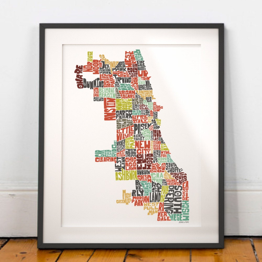 Color art printing anchorage - Chicago Map Art Chicago Art Print Chicago Typography Map Map Of Chicago Chicago Neighborhood Map Downtown Chicago Choose Color Size