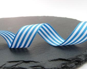 Blue And White Stripe Ribbon 16mm Berrisfords