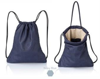 Men backpacks Navy blue leather backpack multi way leather bag SALE sack bag - laptop backpack leather drawstring backpack leather rucksack
