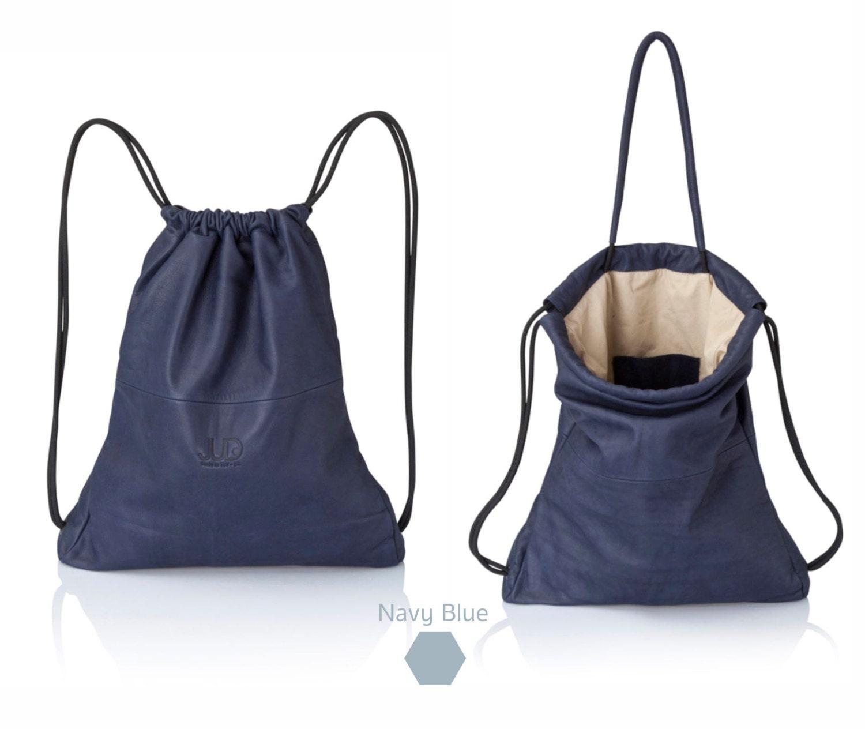 Men backpacks Navy blue leather backpack multi way leather bag