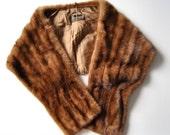 Vintage Mink 50s Fur Stole Shawl Cape Wrap Brown