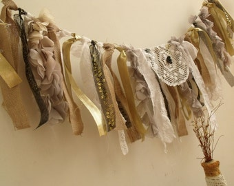 CHRISTMAS petals vintage Doily Garland Banner SHabby Chic Fabric Rag Gold gray silver black White