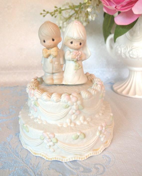 Vintage Precious Moments Wedding Cake Topper Figurine Music