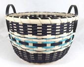 Hand Woven Storage Basket with Wood Handles for Towels, Toys, Knitting, or Storage