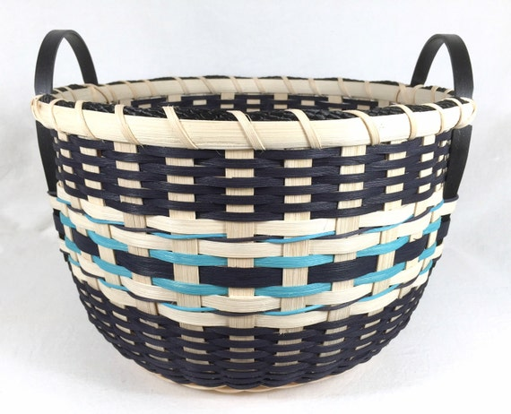 Knitting Basket With Handles : Hand woven storage basket with wood handles for towels toys