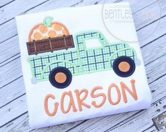 Pumpkin Truck Shirt or Bodysuit - Boys Truck Shirt - Boys Fall Shirt - Thanksgiving Pumpkin Truck Shirt