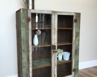 Primitive Cabinet, Jelly Cupboard, Farmhouse Cabinet, Distressed Painted, Glass Door Cabinet