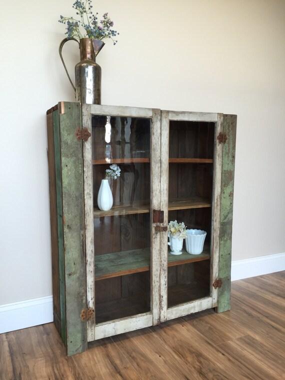 Primitive Cabinet - Jelly Cupboard - Farmhouse Furniture - Pie Safe - Glass Door Cabinet - Jelly Cabinet - Country Furniture