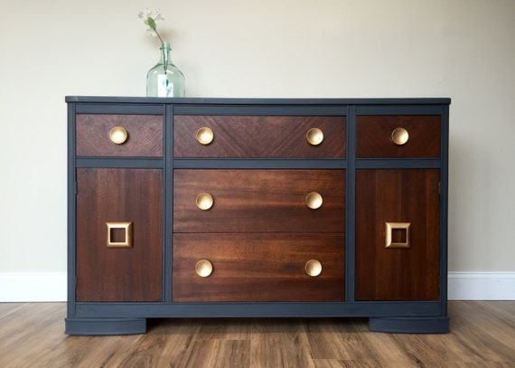 Vintage Sideboard TV Credenza Blue Dining Room Buffet Two