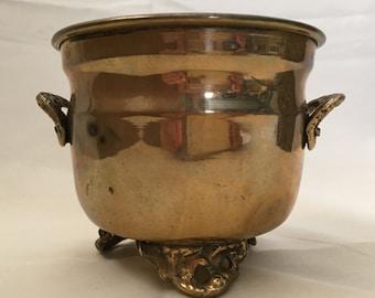 Vintage Brass Cauldron Bucket Planter