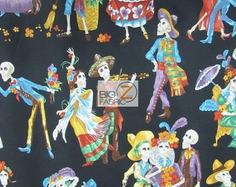 "100% Cotton Fabric By Alexander Henry - Paseo De Los Muertos Black - Sold By The Yard  - 45"" Width (FH-2297) Skeletons"