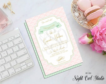 Baptism Invitation-Invite-Pink-Mint-Gold-Baby Shower-Christening-Birthday-Printable