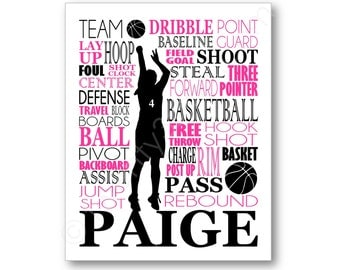 Girl's Basketball Typography Art, Girl's Room Art, Choose Any Colors, Gift for Basketball Player or Coach, WNBA Team Canvas or Art Print